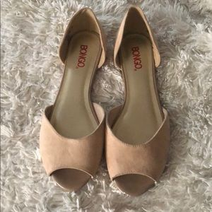 Suede nude color flat shoes 8.5 open toed